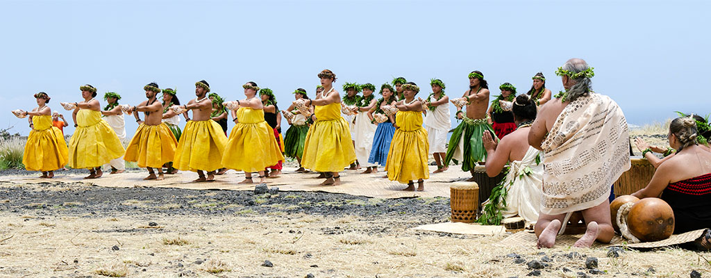 Group of hula dancers 和 Hawaiian chanters