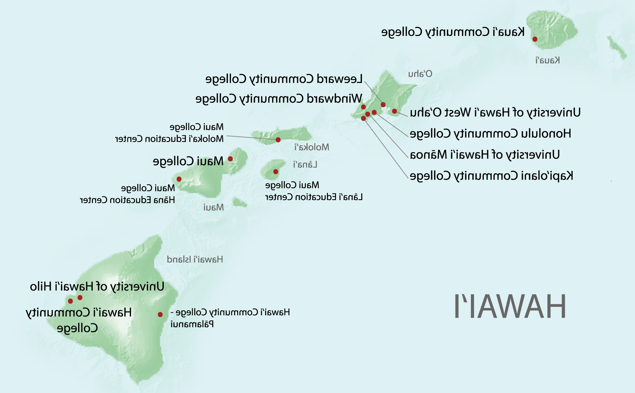 Map of 大学 Hawaii campuses to show on what island and where each university, college 和 education center is located.